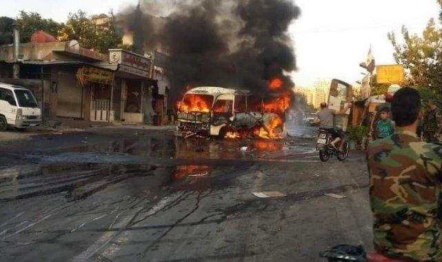 Suriye'de rejim askerleri taşıyan otobüste patlama: 1 ölü, 3 yaralı